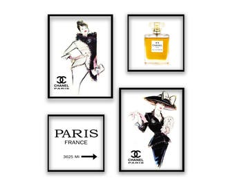 Chanel Print Set, Chanel Logo, Coco Chanel poster Set, Coco Chanel, Paris Fashion Chanel Wall Art, CC Fashion Print, Instant Download Print