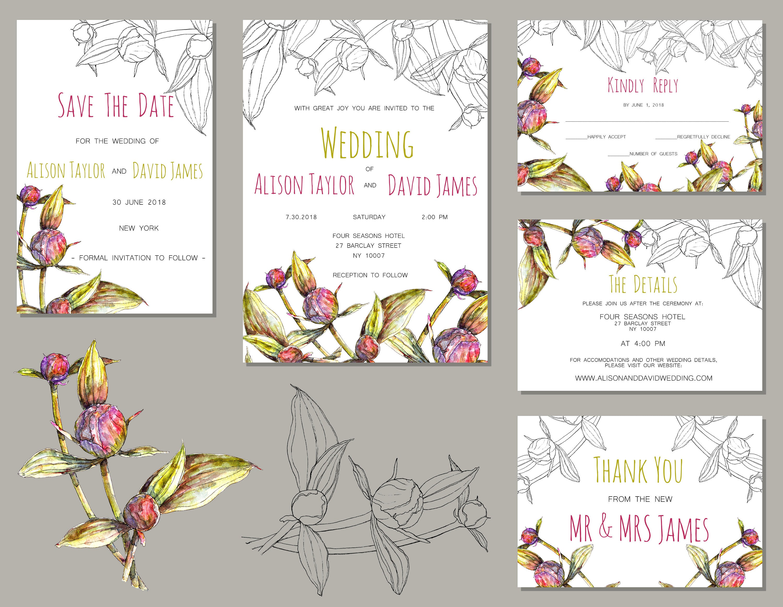 Peonies Wedding Invitation, Wedding Invitation Set, Wedding Template ...
