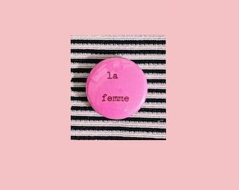 """la femme hand-typed typewriter pin pinback 1"""" button"""