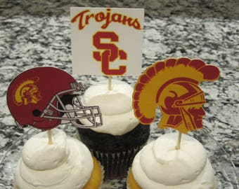 Cupcake toppers, party supplies, USC Trogans, University of Southern California, football, sports