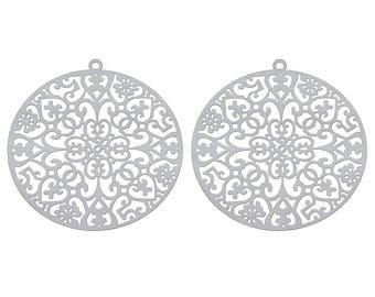 2 pendants, round prints rosettes, steel stainless 4.3 cm