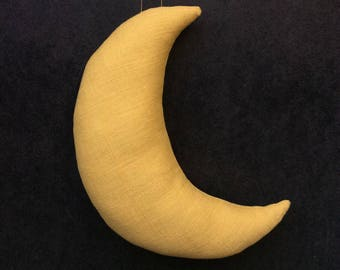 Linen yellow mustard hanging Moon