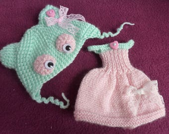 dress and bonnet knitted pullip kawaii
