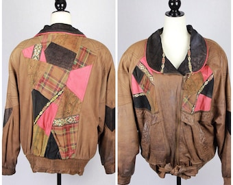 90's Genuine Brown Leather Patchwork Jacket