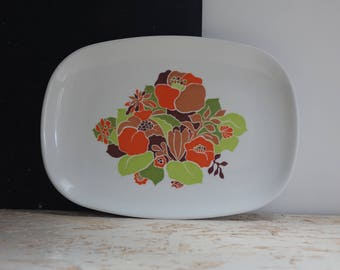 Tray decorated with flowers vintage - Melamine - french flat - Tefal 1970