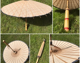 Antique Linen Parasol with Wooden handle. Japanese/Chinese parasol umbrella vintage 50s