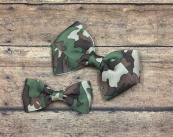 Camouflage Bow on Your Choice of Elastic Headband, Hair Tie, or Clip, Buy 3 Get 1 Free, Camouflage Hair Bow, Army Hair Bow, Military Bow
