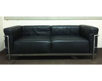 Original Cassina LC3 black leather two seater sofa