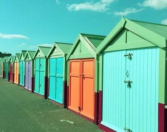 Colourful Beach Huts Photography, Beach Print, Summer Decor, Beach House Photo, Green blue orange Square Print