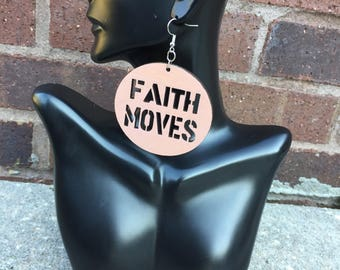 Faith Moves Wooden Earrings