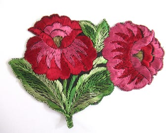 An Antique red pink Silk Flower Applique, Vintage Floral Patch, Embroidery Sewing Supply. #6ADG9AK4