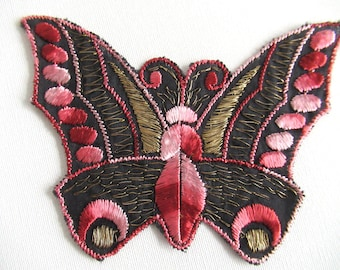 Butterfly Applique, 1930s Vintage patch, Sewing supply, Crazy quilt. #6A8G43KB