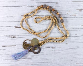 Charm necklace, long necklace, necklace, wooden beads, glass beads, tassel necklace, boho, shabby