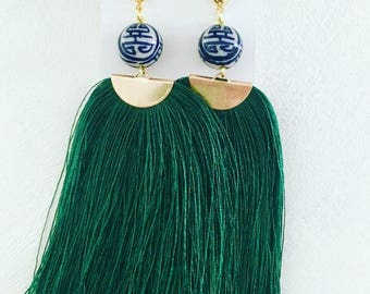 GREEN Fringe Earrings | statement earrings, gold, long, lightweight, big earrings, emerald, blue and white, chinoiserie