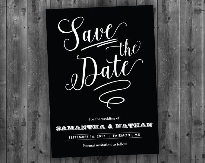 Black and White Save the Date Printed - Black and White, Chalk, Board, Chalkboard,