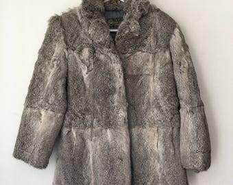 Glamorous Short Vintage Grey Genuine Rabbit Fur Coat Women's Size Medium.