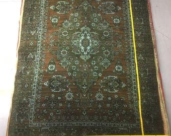 Ancient rug 100% wool oriental pattern green and brown color warm vintage old big rug rarity heavy rug retro suitable for home&restaurant.