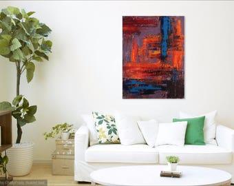 Abstract #4 medium wall art acrylic painting blue gray purple orange