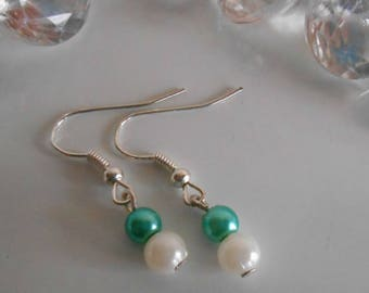 Wedding earrings turquoise beads and white