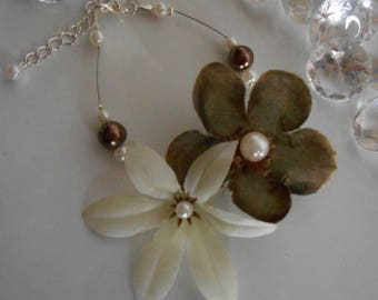 Wedding beaded flowers Brown and white duo bracelet