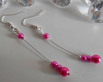 Pearl dangle wedding earrings Pearl Fuchsia