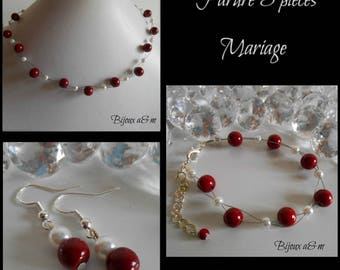 Set of 3 wedding pieces twist of Burgundy and white pearls