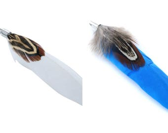 2 or 10 double with placement ring pheasant feathers + white or dark blue 70mm (charm, pendant)