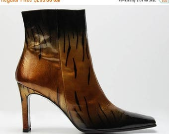 SUMMER33OFF vtg 90s patent leather metallic honey gold  black ombre tiger print AVANT Garde ankle boots Us 9