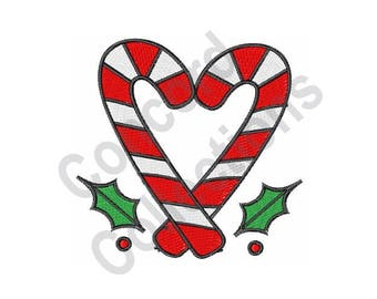 Candy Cane Heart - Machine Embroidery Design, Candy Canes, Heart