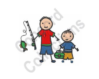 Fishing Buddies - Machine Embroidery Design, Boys, Children, Fishing