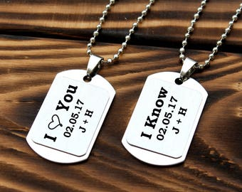 Couples Necklace set, his and her gift, couple pendant, boyfriend girlfriend gift, Personalized necklace, I Love You I Know, couples gift