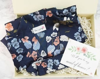 Floral Bridesmaid Robes for getting ready / Bridal Kimono Robes with Gift Box / Bridal Party Gifts / Bridal Shower Gift / Maid of Honor Gift