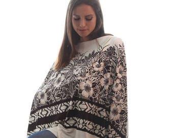 ON SALE Nursing Shawl |  Breastfeeding Cover Up | Nursing Poncho | Brown Print Nursing Apron | Nursing Cover | Baby Shower Gift | Gift under