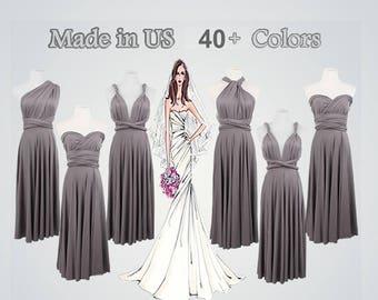 Short Evening Prom Gowns,Grey Formal Dress,Short Formal Dress,infinity Dress,Wrap Formal Dresses,Formal Dress Knee-length