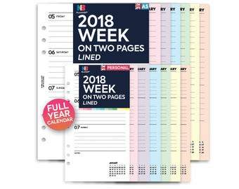 PRINTED 2018 Week on two pages lined Insert A5 / Personal Filofax A5 Kikki.K Large Compatible Refill Coloured WO2P