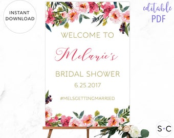 Floral Bridal Shower Welcome Sign | Editable | Pink | Gold | Peonies | Boho Bridal Shower | Bridal Shower Decor| Boho Welcome Sign|