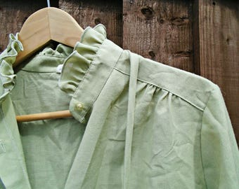 Vintage Blouse - 1980's - Long Sleeved Blouse - Ruffle Blouse - Green