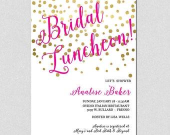 Bridal Shower Invitation, Bridal Luncheon Invitation, Gold Confetti, Wedding Shower Invitation, Bridal Shower Confetti