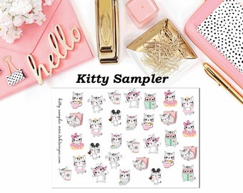 Kitty Sampler//Planner Character Stickers//EC//HP