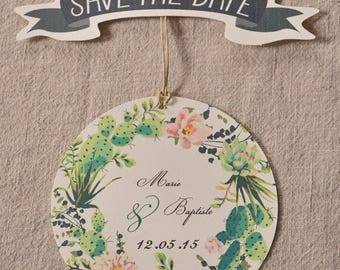 Save the date wedding cactus