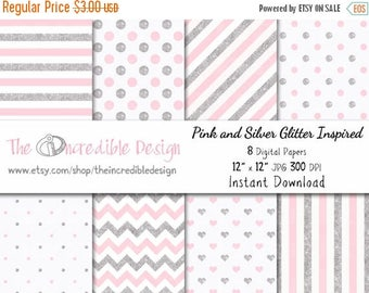 50% OFF SALE Pink and Silver Glitter Inspired digital paper pack for scrapbooking, Making Cards, Tags and Invitations, Instant Download