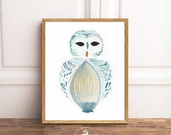 Owl, woodland animal, bohemian art, digital download, printable watercolor, owl art, nursery art, playroom art, painting by Faboomie