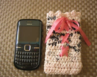"Corseted, cell phone case crocheted plastic bags and ""recycled"""