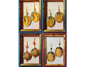 Venus di Botticelli Spring handmade wood decoupage earrings Art