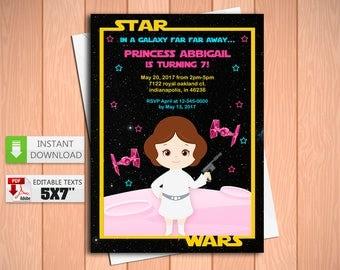 Printable invitation Princess Leia in PDF with Editable Texts, Princess Leia Star Wars Birthday Invitation, edit and print yourself!