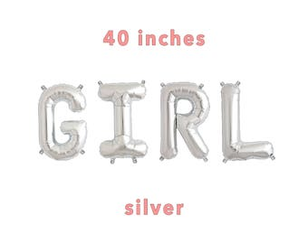 "GIRL Letter Balloons | 40"" Silver Letter Balloons 