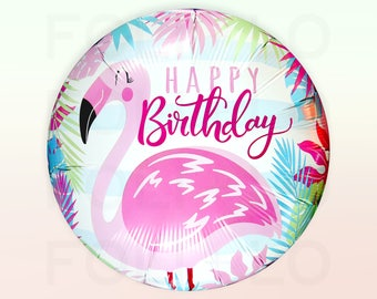 FLAMINGO Birthday Balloon | Pink and Teal Balloon | Flamingo Design on White Balloon | Round Birthday Balloon | Hawaiian Balloon