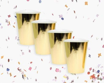Gold Cups | Metallic Gold Cups | Gold Party Decoration | Gold Party Theme | Size 12oz | Set of 8