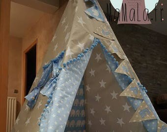 Tipi with ceiling, Pennant, Pom star, cloth bag and pillow