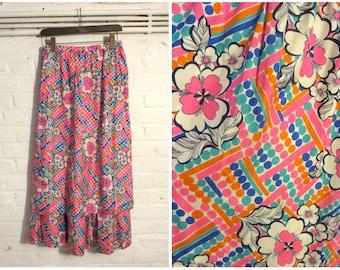 Vintage 1960s pink, orange and blue flower print silk maxi skirt - UK 8 EU 36 US 4 - Mod Psych Sixties Boho